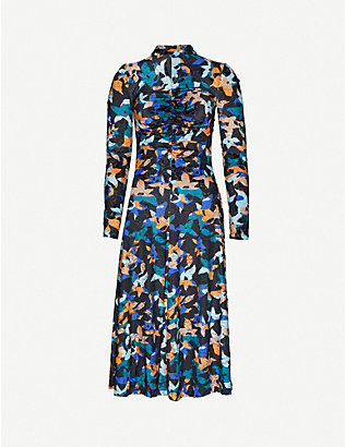 STINE GOYA: Asher abstract floral-print stretch-velour midi dress