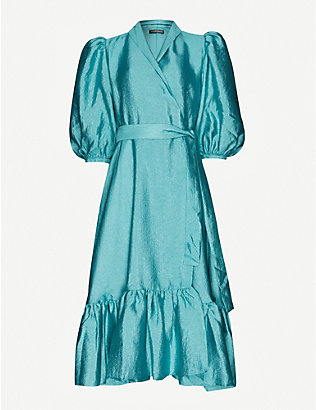 STINE GOYA: Chinie puff-sleeve crepe midi dress