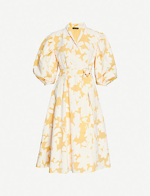 STINE GOYA: Belinda floral-print puff-sleeve cotton-blend midi dress