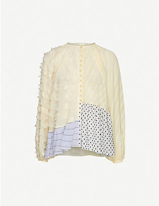 STINE GOYA: Xavi contrast-panel chiffon top