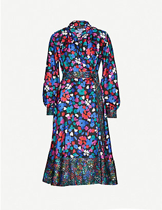 STINE GOYA: Reflection floral-print silk midi dress