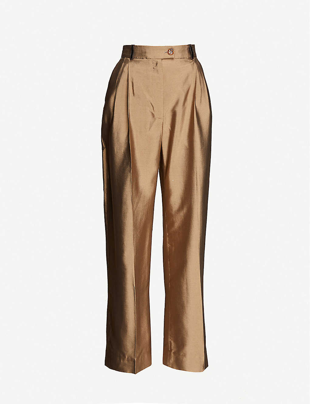 STINE GOYA: Chet wide-leg high-rise crepe trousers