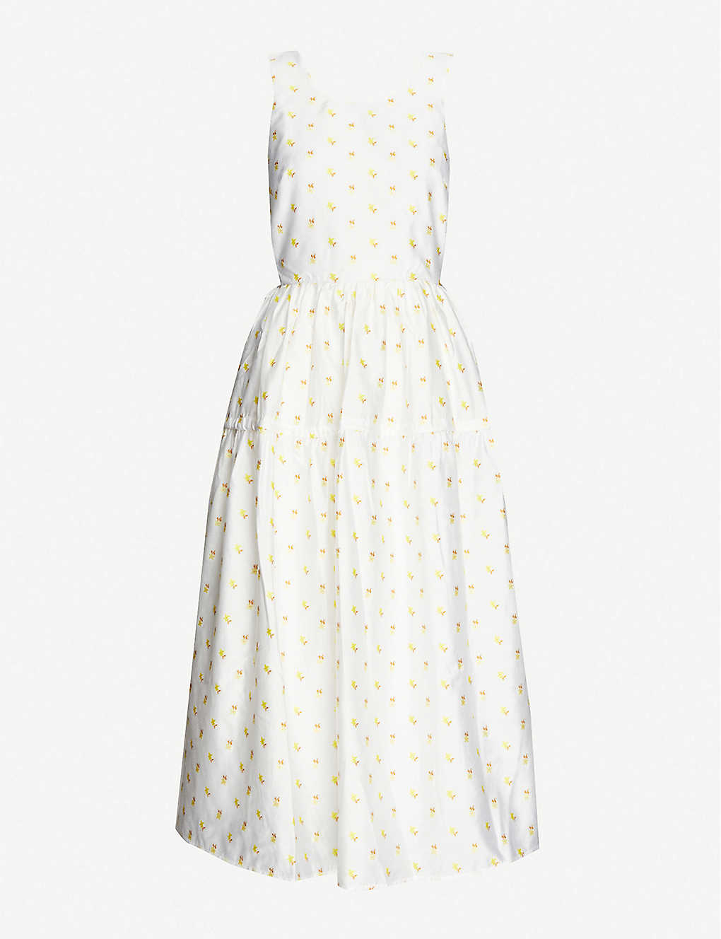 STINE GOYA: Tulula embroidered woven midi dress