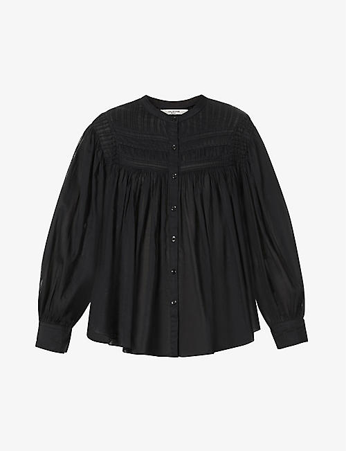 ISABEL MARANT ETOILE: Plalia pin-tucked semi-sheer cotton shirt