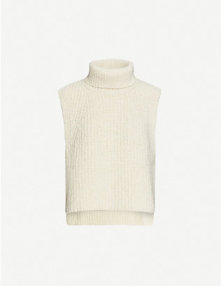 ISABEL MARANT ETOILE: Megan turtleneck sleeveless cotton-blend knitted top