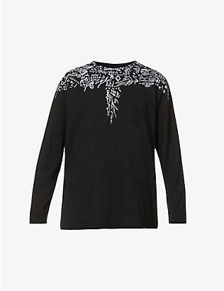 MARCELO BURLON: Sketches Wings graphic-print cotton-jersey top
