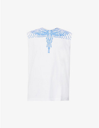 MARCELO BURLON: Wings graphic-print cotton-jersey vest