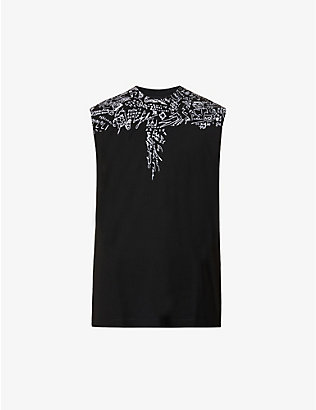 MARCELO BURLON: Sketches Wings graphic-print cotton-jersey vest
