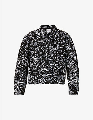 MARCELO BURLON: Sketches graphic-print denim jacket