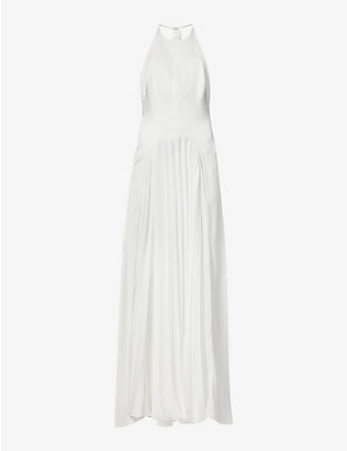 GALVAN: Provence satin-crepe gown