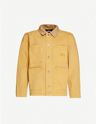 STUSSY: Logo-embroidered cotton-drill jacket