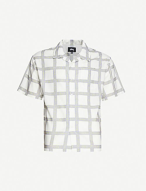 STUSSY: Checked boxy-fit crepe shirt
