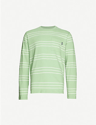STUSSY: Trinity striped cotton-jersey top