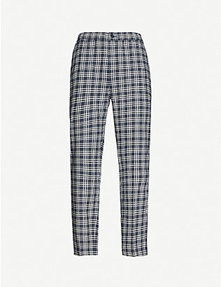 STUSSY: Bryan check-print tapered cotton and linen-blend trousers