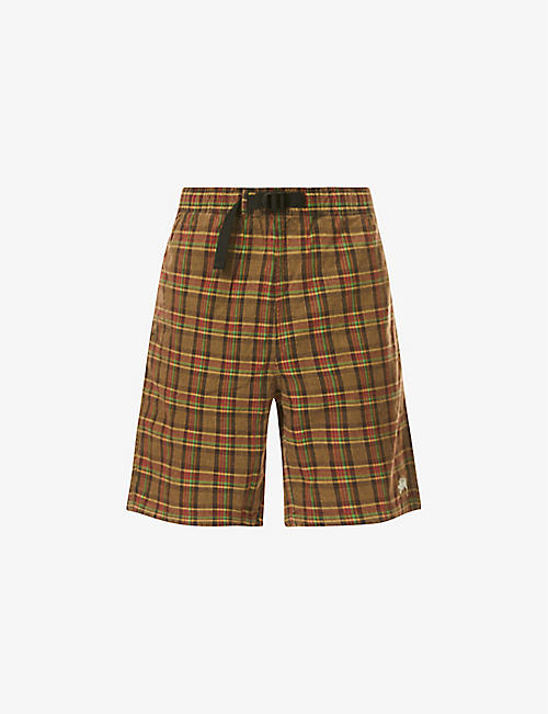 STUSSY: Plaid cotton mountain shorts