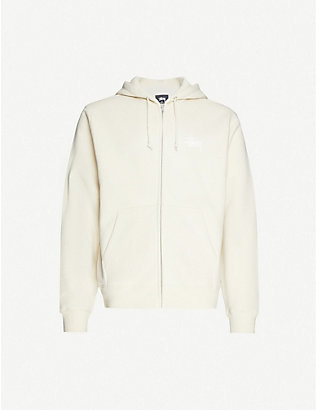 STUSSY: Logo-printed zipped cotton-blend hoody