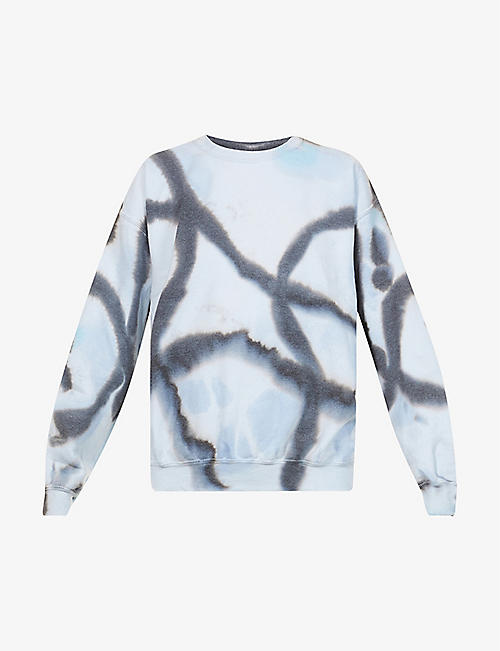 COLLINA STRADA: Tie-dye print cotton-blend jersey sweatshirt