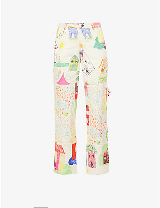 COLLINA STRADA: Home and Garden Chason abstract-pattern cotton trousers