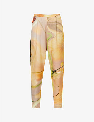 COLLINA STRADA: Charlie floral-print tapered high-rise recycled-cellulosic trousers