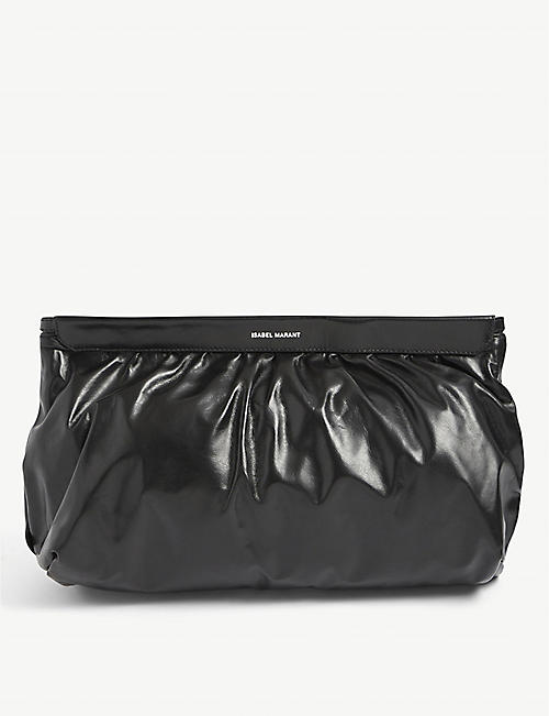 ISABEL MARANT: Luz ruched leather clutch