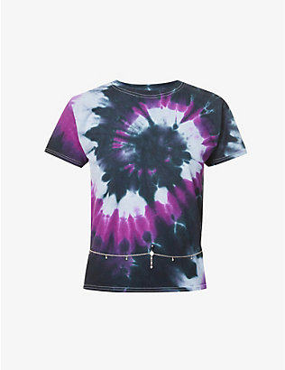 COLLINA STRADA: Chain-embellished tie-dye cotton-jersey T-shirt
