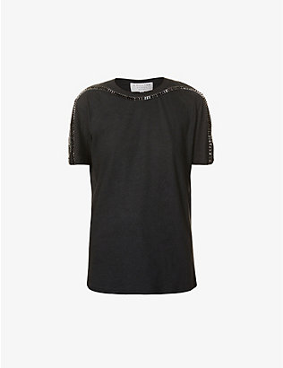 COLLINA STRADA: Sporty Spice embellished hemp and cotton-blend T-shirt