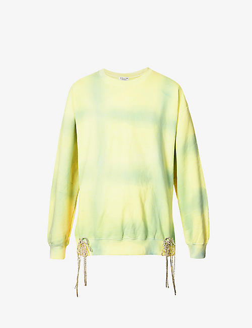 COLLINA STRADA: Tassled cotton-blend sweatshirt