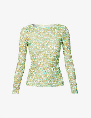 COLLINA STRADA: Cardio floral stretch-mesh top
