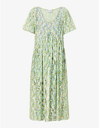 COLLINA STRADA: Princess Mariposa floral-print stretch-mesh midi dress