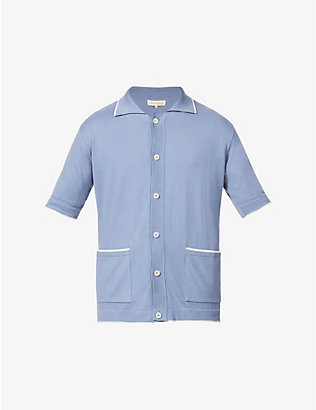 FAR AFIELD: Errol striped-trim cotton-knit polo shirt
