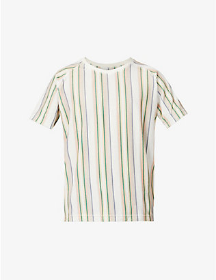 FAR AFIELD: Striped raglan-sleeved cotton T-shirt