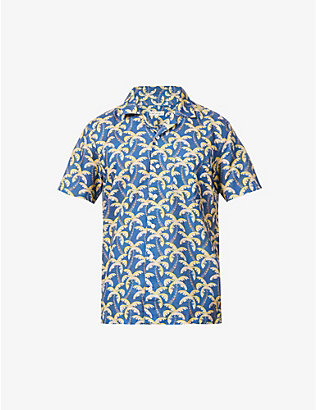 FAR AFIELD: Palm tree-print organic cotton shirt