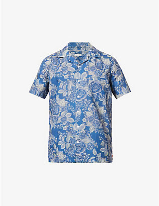 FAR AFIELD: Floral-print regular-fit cotton and linen-blend shirt
