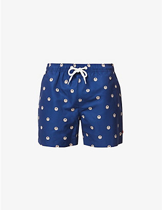 FAR AFIELD: Smiley recycled-plastic swim shorts