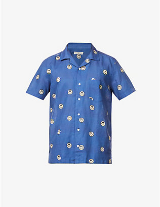 FAR AFIELD: Smiley graphic-print organic-cotton shirt