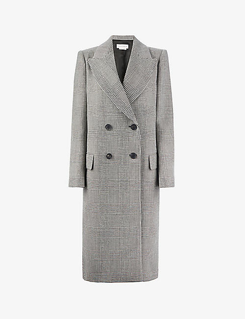 ALEXANDER MCQUEEN: Check double-breasted wool coat