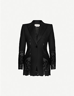 ALEXANDER MCQUEEN: Single-breasted lace-panel wool-blend blazer