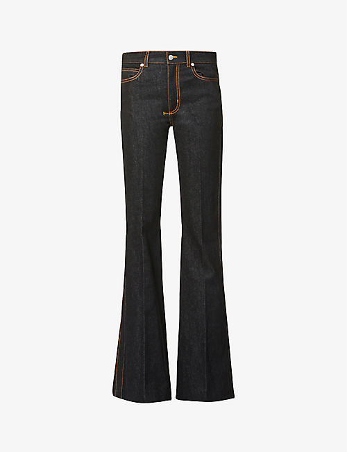 ALEXANDER MCQUEEN: Mid-rise flared stretch-denim jeans