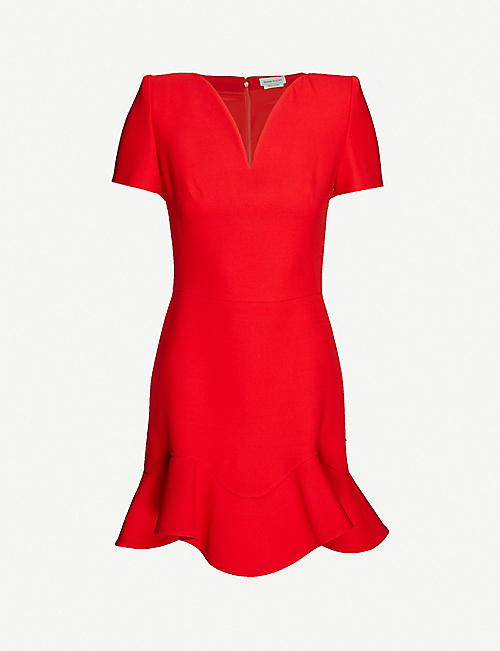 ALEXANDER MCQUEEN: Heart frill-trim wool-blend mini dress