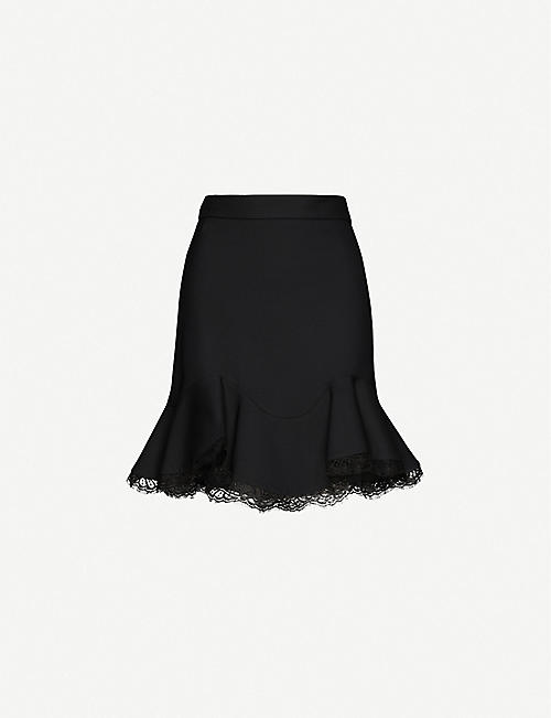 ALEXANDER MCQUEEN: Lace-trimmed high-waisted wool-blend mini skirt