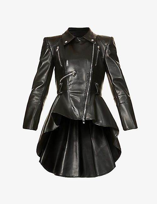 ALEXANDER MCQUEEN: Flared-hem leather jacket