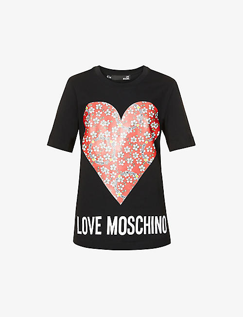LOVE MOSCHINO: Paisley Heart cotton-jersey T-shirt