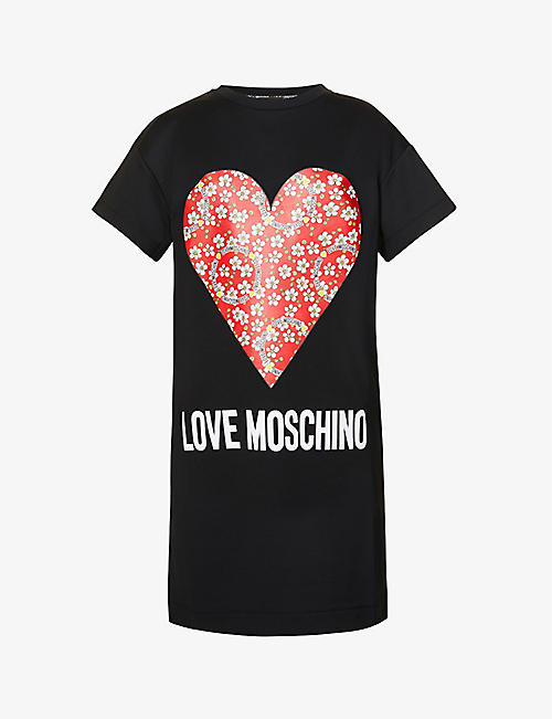 LOVE MOSCHINO: Paisley Heart logo-print cotton-jersey T-shirt dress
