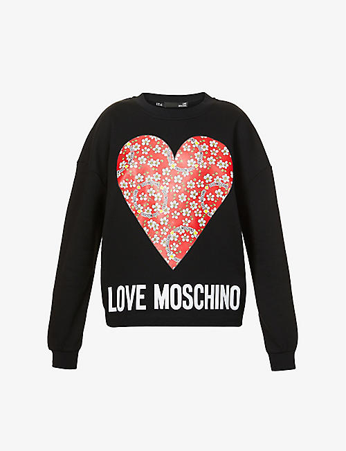 LOVE MOSCHINO: Paisley Heart logo-print cotton-jersey sweatshirt