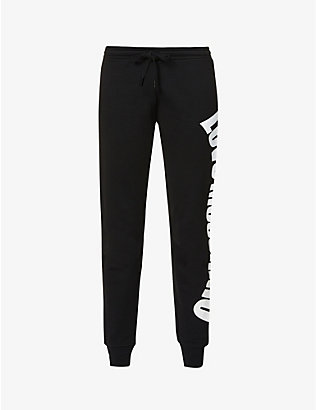 LOVE MOSCHINO: Logo-print high-rise cotton-jersey jogging bottoms