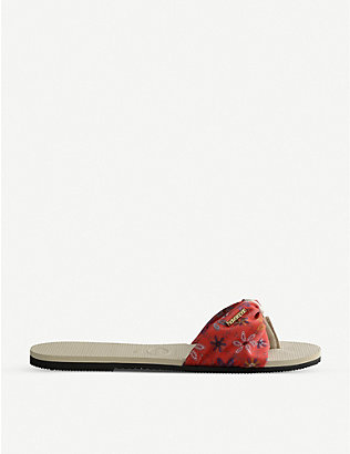 HAVAIANAS: You Saint Tropez rubber and grosgrain sliders