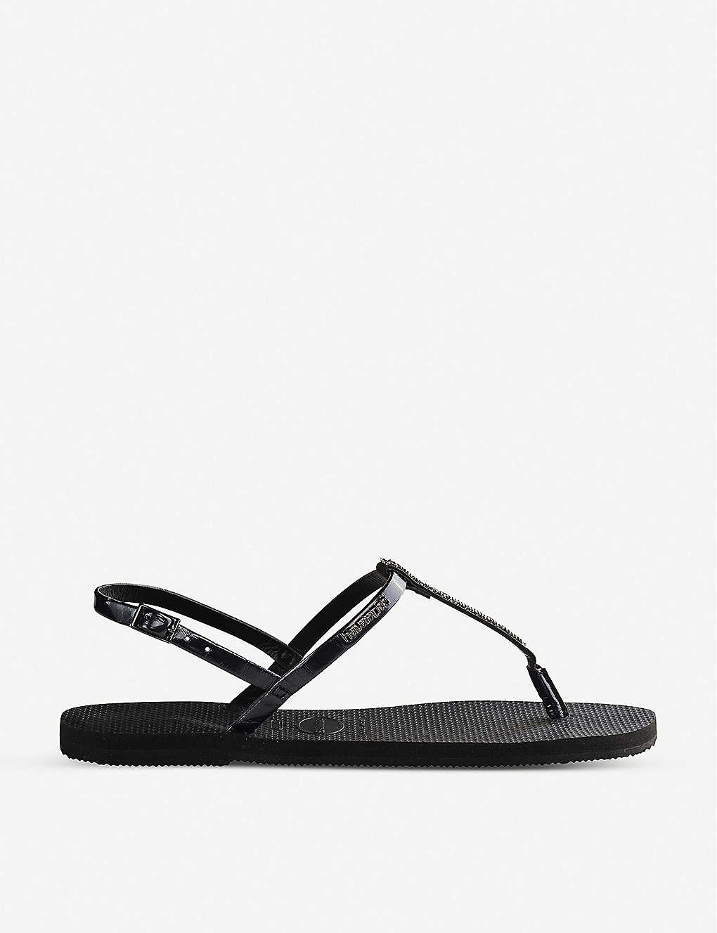 HAVAIANAS: You Riviera Swarovski crystal-embellished rubber sandals