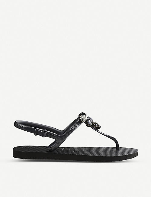 HAVAIANAS: Freedom Capri III embellished rubber sandals