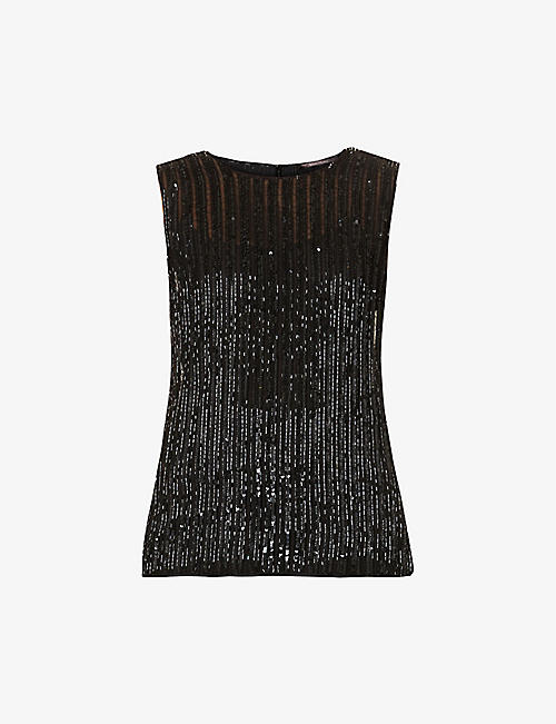MAX MARA ELEGANTE: Asia sleeveless embellished woven top
