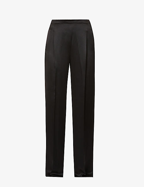 MAX MARA ELEGANTE: Eremi pleated wide-leg high-rise silk-satin trousers